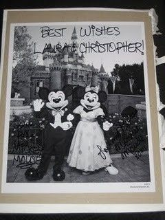 !! If you send Mickey and Minnie Mouse an invitation to your wedding theyll send you back an autographed photo and a Just Married button? Also, if you send Cinderella and Prince Charming an invitation, youll get an autographed congratulatory certificate. Here are the addresses: Micky  Minnie / The Walt Disney Company / 500 South Buena Vista Street / Burbank, California 91521  Cinderella and Prince Charming / P.O. Box 1000 / Lake Buena Vista, Florida 32830