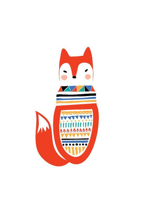 Fox Art Print, Animal Illustration, Geometric, Drawing, Illustration, Children Room, Kids room, Nursery room Art, home decor, Home interior