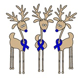 I have to repin this since my husband was diagnosed last year for X-mas. Blue Ribbon Reindeer - Colon Cancer Awareness