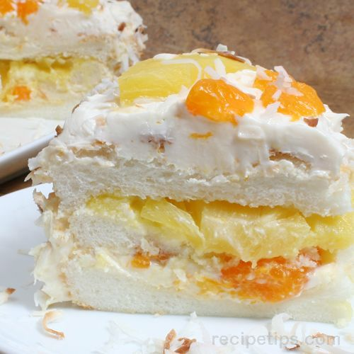 Ambrosia Cake…prep time 30 minutes.  Starts with a box angel food cake mix and