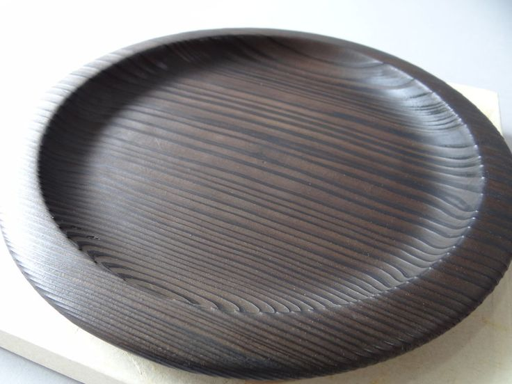 Japanese Yakisugi(burned Ceder) Wooden Dish Plate Tray /Tea Ceremony