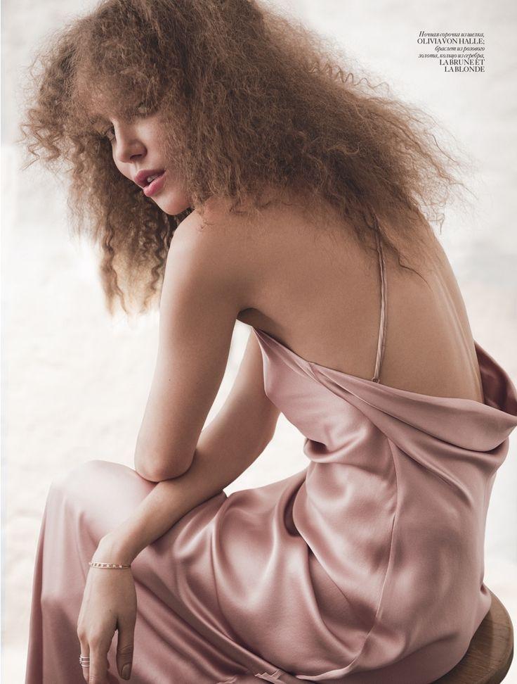 Daria Konovalova wears Olivia Von Halle slip dress. Photo: Angelo D'Agostino
