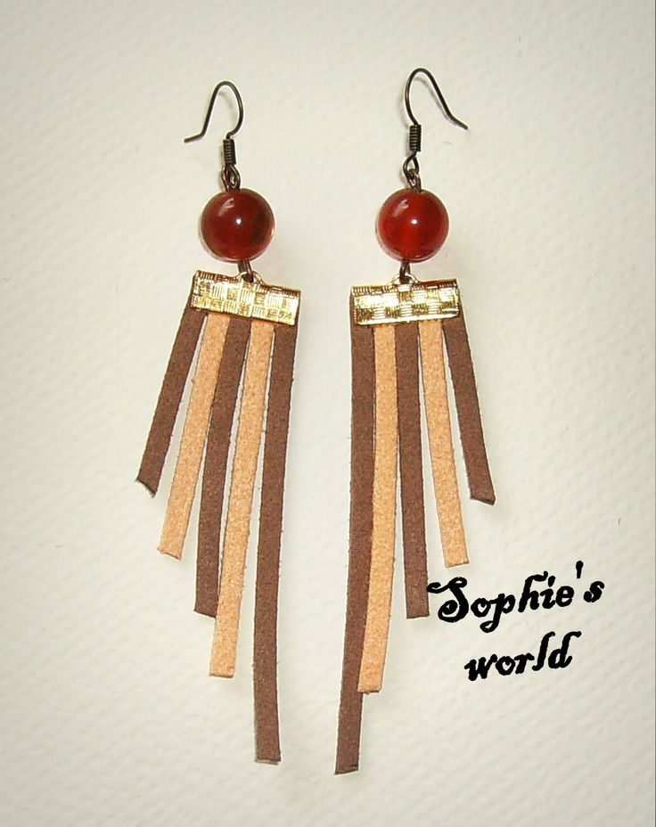 #earrings #wings #suede χειροποίητα σκουλαρίκια με σουέτ σε γήινες αποχρώσεις κ χάντρες https://www.facebook.com/SophiesworldHandmade/