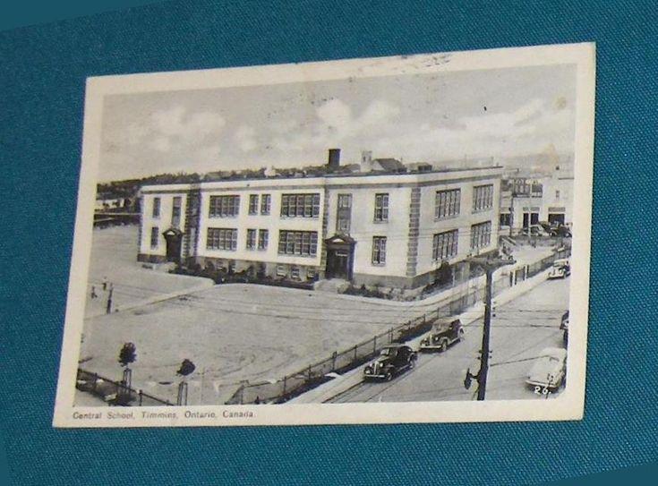 Central School Timmins Ontario Canada Vintage Postcard