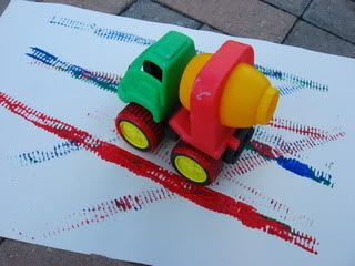 Truck tracks painting-- for the little one who doesn't want to sit still for arts and crafts time!: Crafternoon Ideas, Track Paintings, Touch Ideas, Projects Ideas, Project Ideas, Daycares Ideas