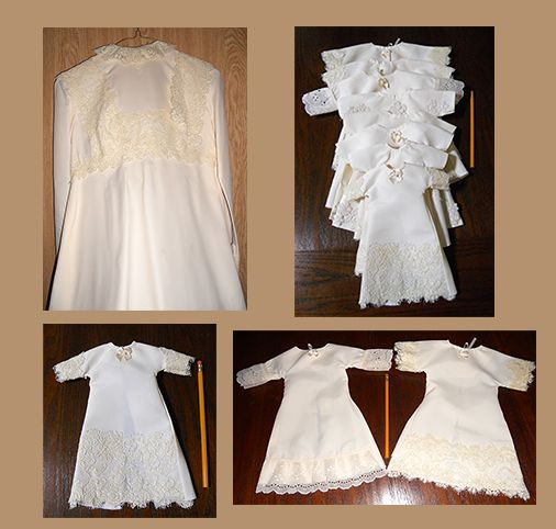 Angel Gowns...Gowns repurposed from donated wedding dresses into burial gowns and wraps for families of precious preemie babies. Consider donating your dusty dress to this worthwhile cause!