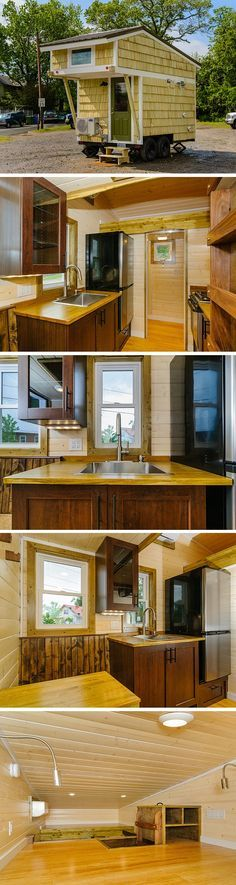 The Hardy: a tiny house with 96 sq ft of space on its ground floor. Despite its small size, the home has a kitchen, dining/work space, a bathroom, and a loft bedroom! There's even a kitty litter hideaway