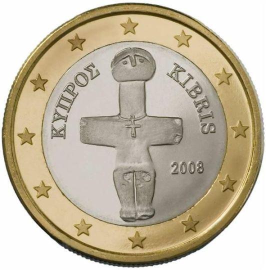 """CIPRO 1 EURO:Nel cerchio interno è raffigurato un idolo a forma di croce risalente al periodo calcolitico (3000 a.C.) e proveniente dal villaggio di Pomos, esempio caratteristico dell'arte preistorica di Cipro. Il nome greco e quello turco dell'isola, """"ΚΥΠΡΟΣ KIBRIS"""", sono incisi a semicerchio in alto rispettivamente a sinistra e a destra dell'idolo. L'anno """"2008"""" figura in basso a destra. Intorno 12 stelle a cinque punte rappresentanti l'Unione Europea."""