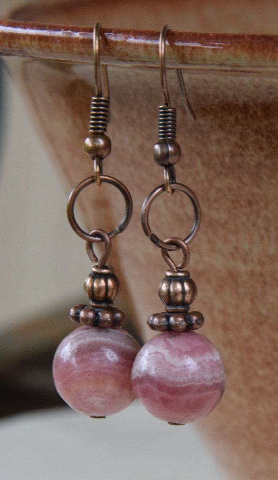Antique Copper Jump Ring Earrings with 10mm Pink Rhodonite Gemstones and Antique Copper Spacer Beads. 1.5 inch Earrings.