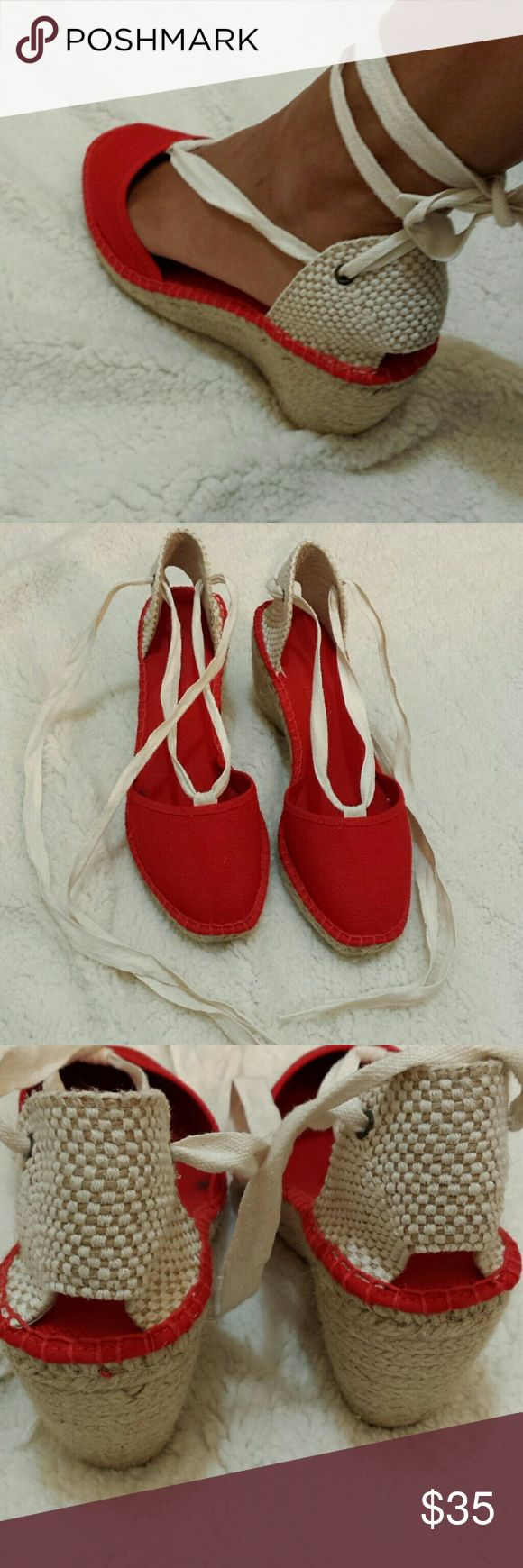 "Sale now Red Espadrilles String wraps around ankle, made in Spain, not sure of brand, straw heel, 3"" Shoes Espadrilles"