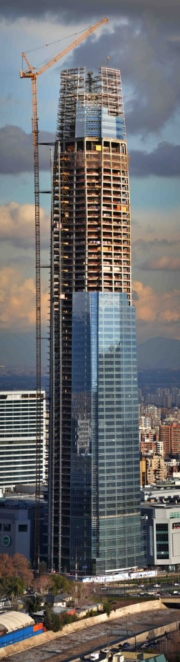 Under Construction:  La Gran Torre - one of four buildings which will make up the Costanera Center. Santiago, CHILE