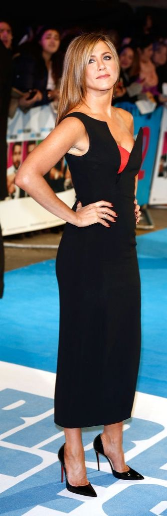 Jennifer Aniston in a sexy black Antonio Berardi dress