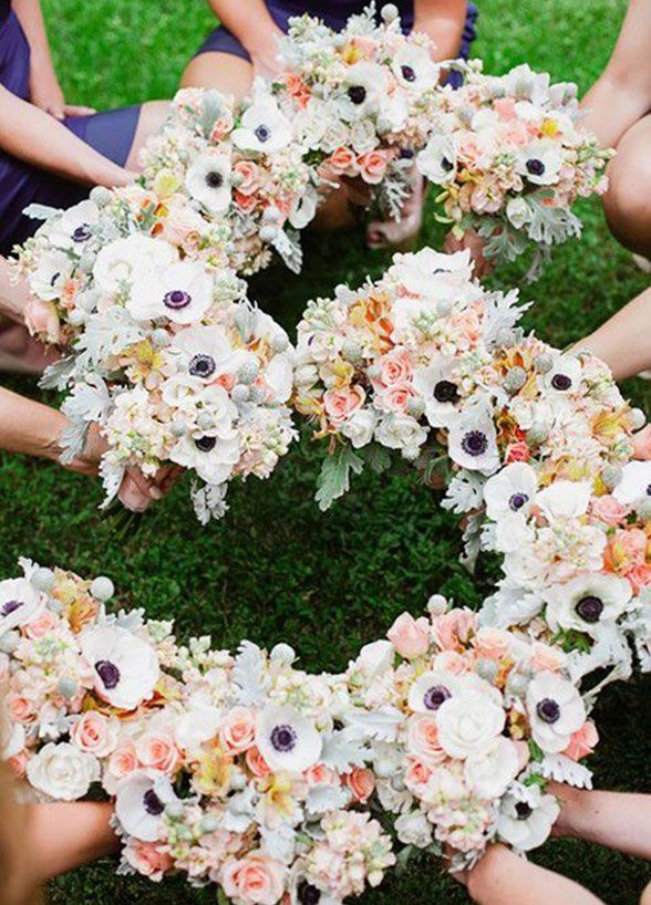 It's time to pick up those beautiful bouquets! You've given your girls some fabulous floral arrangements so why not put them to good use? We love the idea of lining up personal flowers in the shape of your new initials. Bridal Party, Bridesmaid Photos, Wedding Photo Ideas