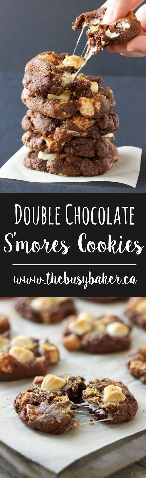 Double Chocolate S'mores Cookies from thebusybaker.ca make the perfect cookies for your summer holidays!