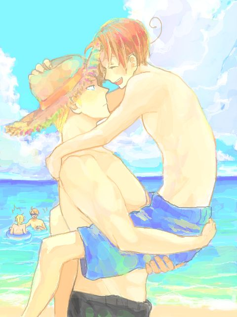 GerIta at the beach with USUK in the background <3 source: http://tegaki.pipa.jp/584021/23865070.html