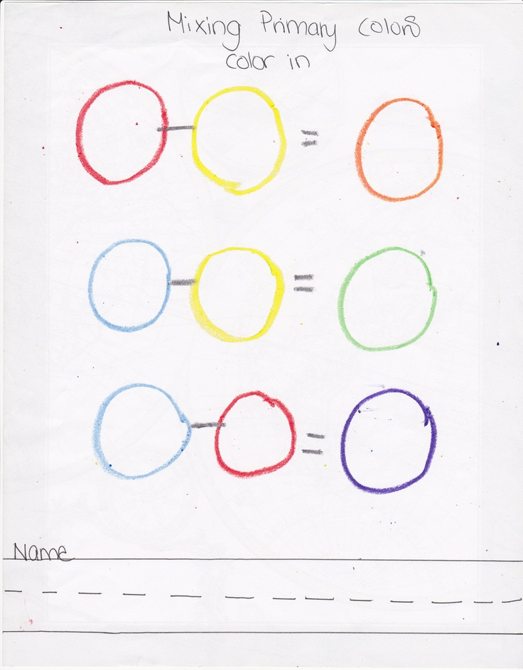 Primary color mixing Worksheet ) Very easy to duplicate