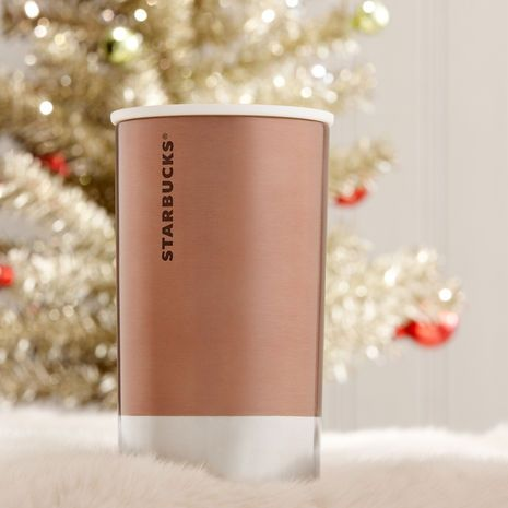 Stainless Steel At Home Holiday Mug - LOVE this Rose Gold Coffee Mug with a lid! StarbucksStore.com