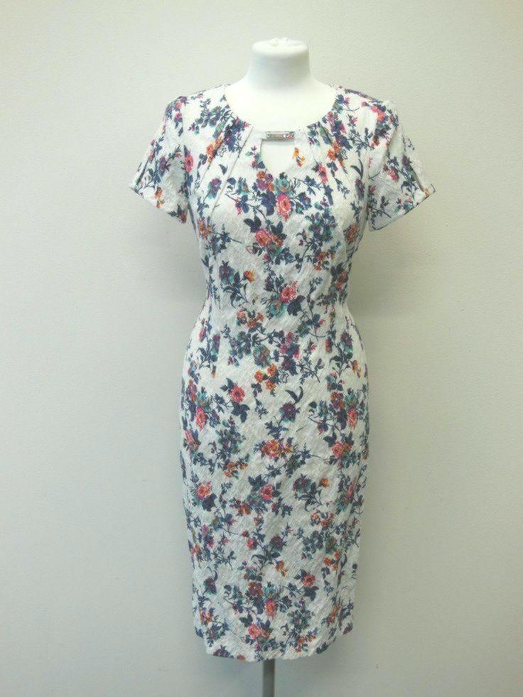 Trynite Elegantes Futteral Mischgetrank Stretch Kleid Plan Blumen Etuikleid Kleider Elegant