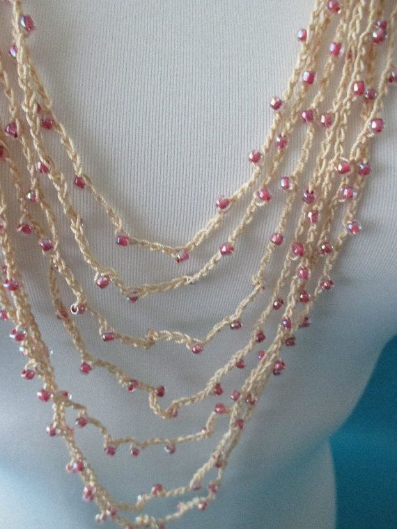BEADED CROCHET NECKLACE  Strawberry Beads by QuackyQuilts on Etsy