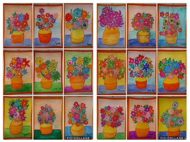 Vasi di fiori con pastelli acquarellabili