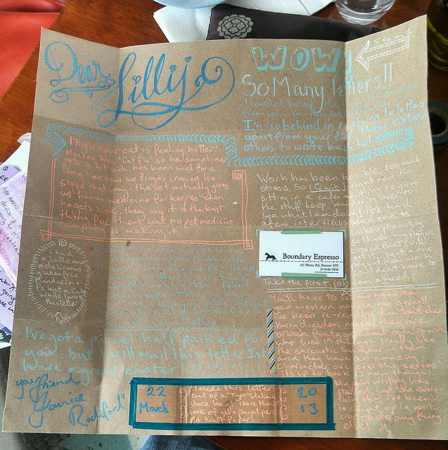 A recent pen pal letter made from an upcycled bag. Don't neglect the things that are all around you for letter materials! She folded this up, put washi around the edges a stamp on the front and you are away!