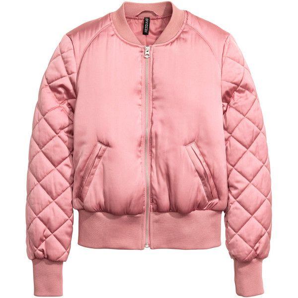 H&M Lentäjäntakki 19,99 (£20) ❤ liked on Polyvore featuring jackets, outerwear, red jacket, padded bomber jacket, quilted jacket, red bomber jacket and red satin jacket