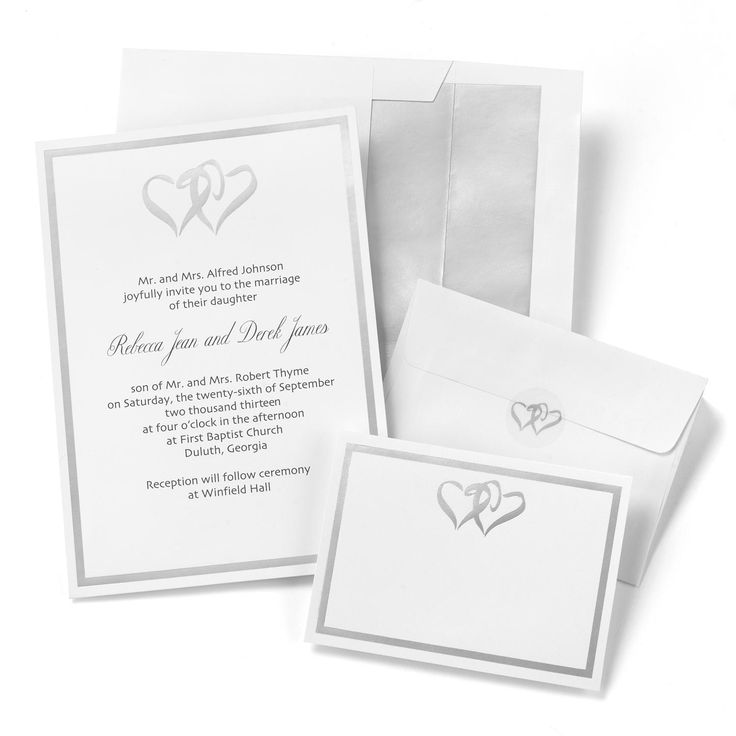print yourself wedding invitations kit%0A Hortense B Hewitt Printable Wedding Invitations Silver Double Hearts Invitation  Kit
