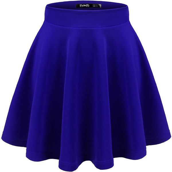 Thanth Womens Versatile Stretchy Pleated Flare Skater Skirt ($14) ❤ liked on Polyvore featuring skirts, flared pleated skirt, blue circle skirt, flare skirts, blue skater skirt and knee length flared skirts