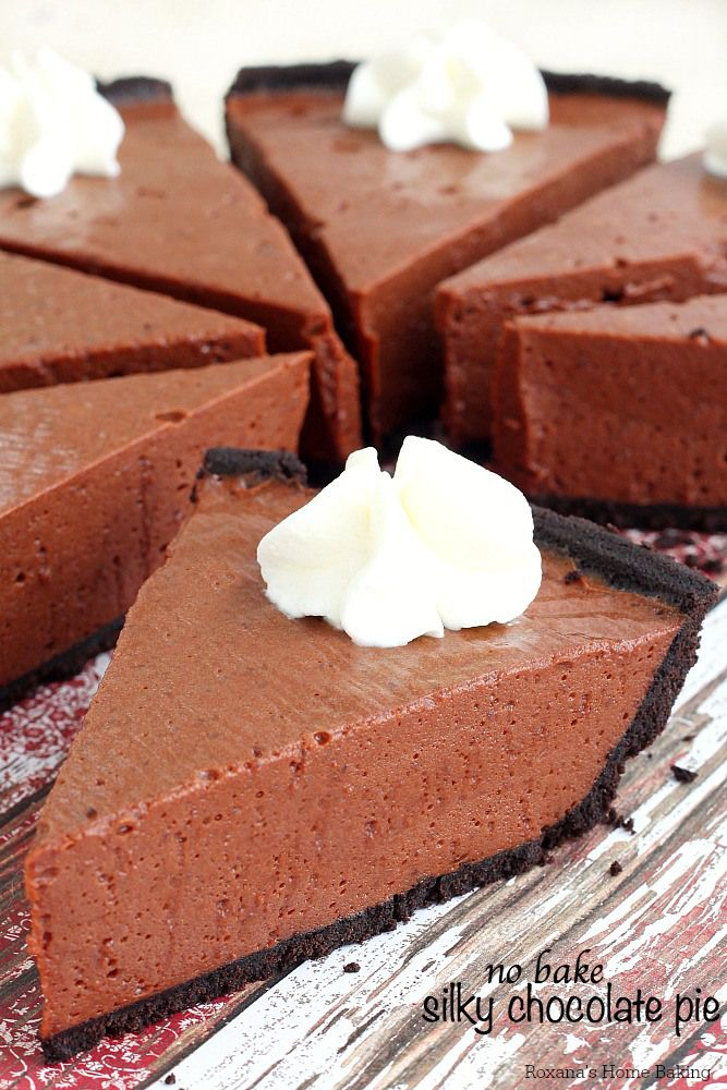 No bake silky chocolate pie