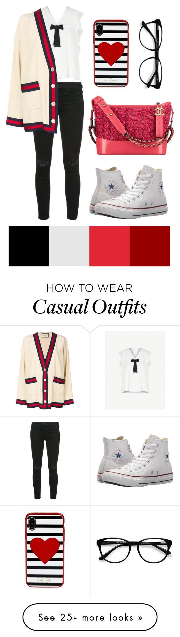 """Casual Red Bag"" by peggymn on Polyvore featuring Claudie Pierlot, Mother, Converse, Gucci, Kate Spade and EyeBuyDirect.com"