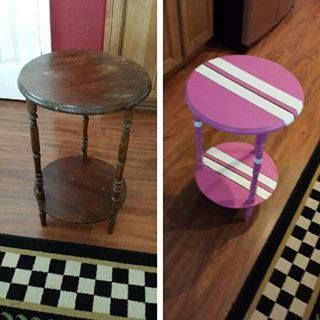 before and after furniture DIY Old looking side tables now new!