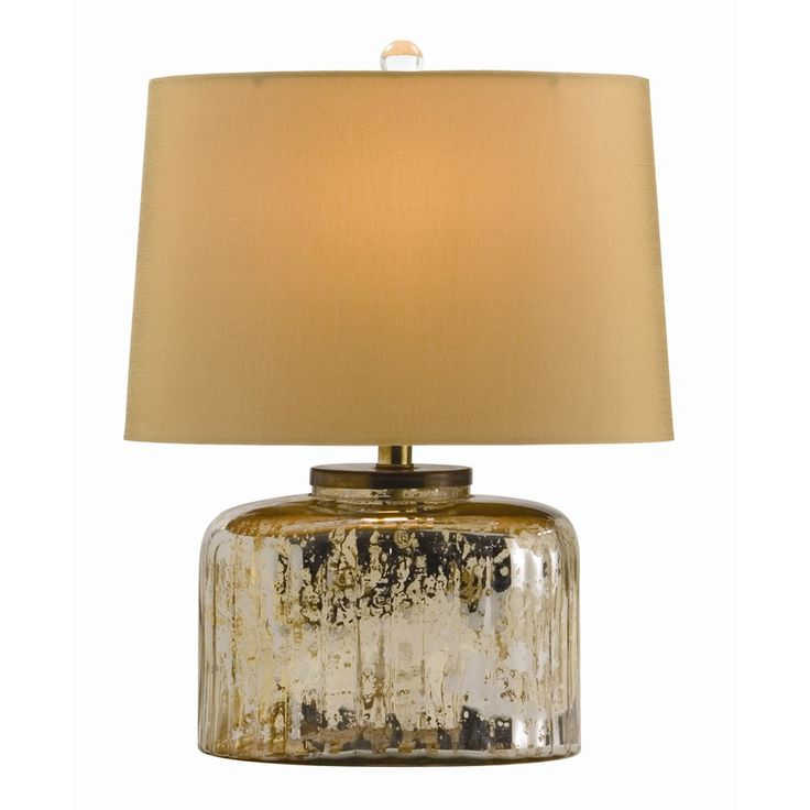 Pelham Lamp $345 H: 16.5in W: 12in D: 7.5in Every room needs a little bling and this small oval ribbed antiqued mercury glass lamp is perfect. The oval shade is honey colored sheer fabric lined with same.