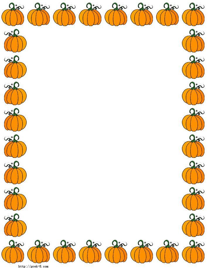 Pumpkins Border Paper Free Printable Halloween