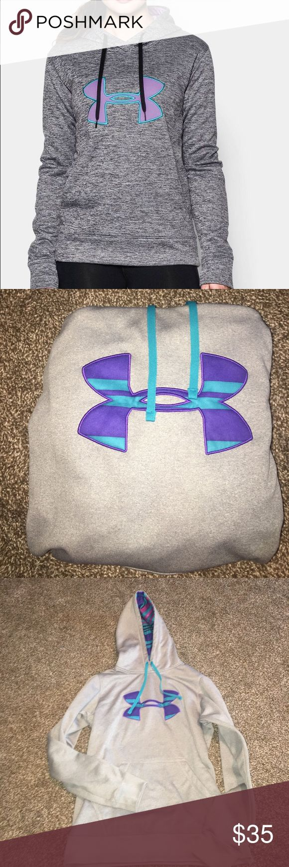 """under armour loose women's hoodie gray purple blue this hoodie is in perfect condition, only worn once. """"loose"""" fitted Under Armour Tops Sweatshirts & Hoodies"""