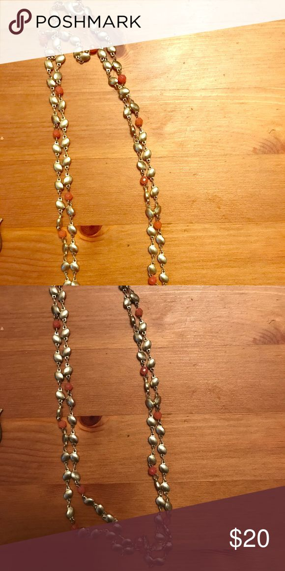"""Long gold and peach necklace Long necklace (goes to my belly button and I'm 5'1""""). Gold ovals, with intermittent peach beads. Simple but very pretty. Jewelry Earrings"""
