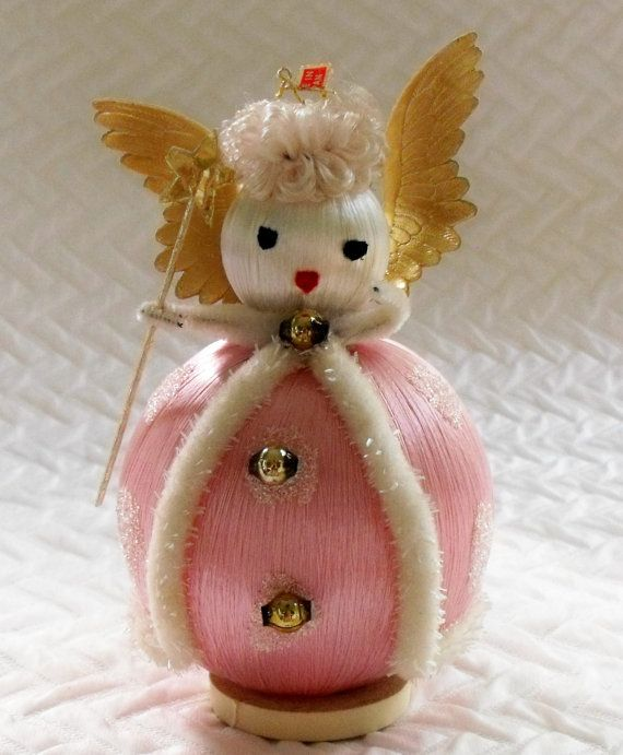 Vintage satin ball angel ornament, made in Japan... via Etsy