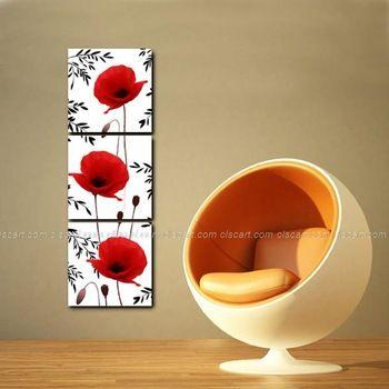 Red Poppy Reproduction impression sur toile acrylique haute qualité 3 pcs peintures Art grand huile de toile peinture à l'huile chambre fond