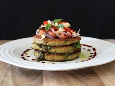 Parmigiana Fritters with Caprese Salad