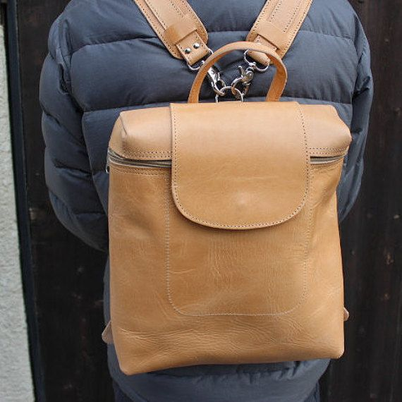 Small leather backpack womens backpack-leather backpack by EATHINI