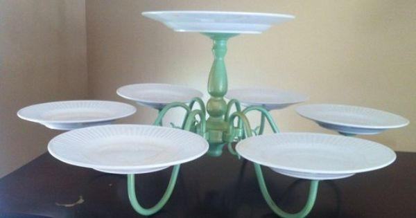 Vintage chandelier repurposed into cake dessert stand for wedding reception shower, teaparty, cupcakes; Upcycle, Recycle, Salvage, diy, thrift, flea, repurpose! For vintage ideas and goods shop at Estate ReSale