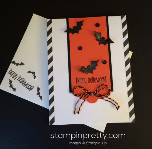 Spooky Fun stamp set & Halloween Scenes Edgelits Dies Halloween card.  Mary Fish, Stampin' Up! Demonstrator.  1000+ StampinUp & SUO card ideas.  Read more http://stampinpretty.com/2016/09/batty-for-this-halloween-card.html