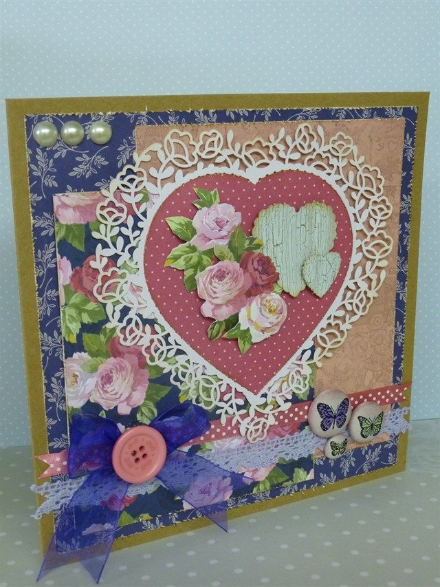 Handmade floral card using Simply Floral, Papermania Capsule Parisienne Blue and Victorian Valentine papercraft collections.