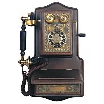 Paramount 1907 Antique Style Wooden Wall Reproduction Phone w Brass Accents New | eBay