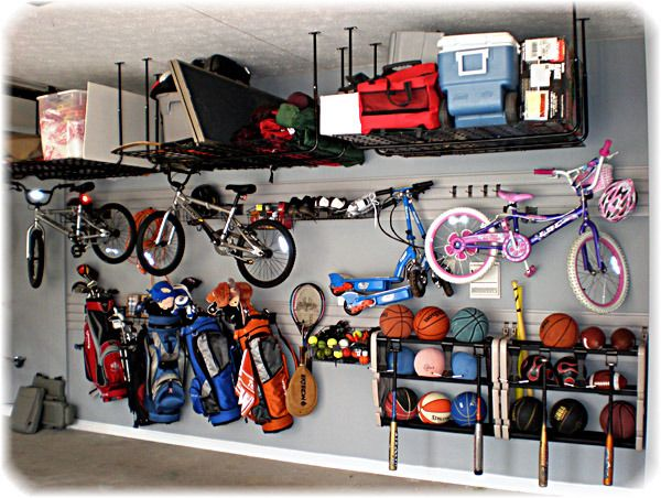 I like how the balls and baseball bats are stored here.
