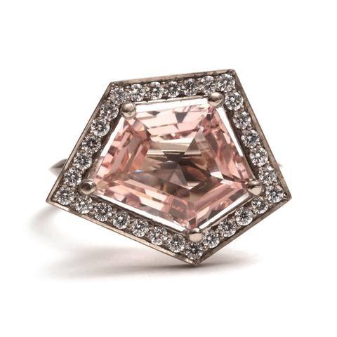 White Diamond and Pink Morganite Five Claw Elevate Ring by Melanie Katsalidis