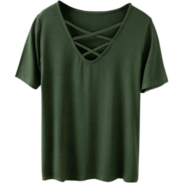 Strappy T-Shirt Army Green ($19) ❤ liked on Polyvore featuring tops, t-shirts, olive green top, army green t shirt, spaghetti-strap top, green top and green tee
