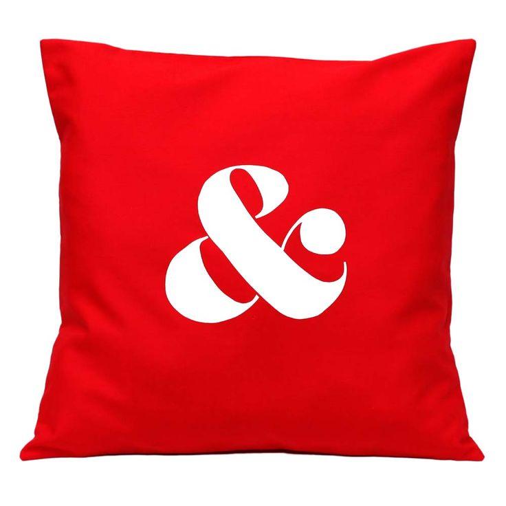 Ampersand cushion in red from Linnea - Swedish Design. Stylish handmade homewares in Scandinavian style.