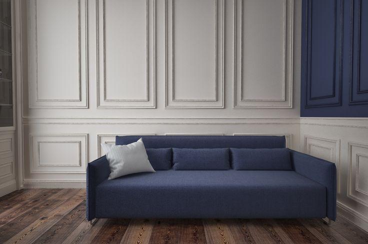 Стены в спальне выполнены в двух цветах: белоснежно-белом и сочном синем. При этом стены декорированы молдингами. Мягкая часть мебели подобрана в тон стен синего цвета.