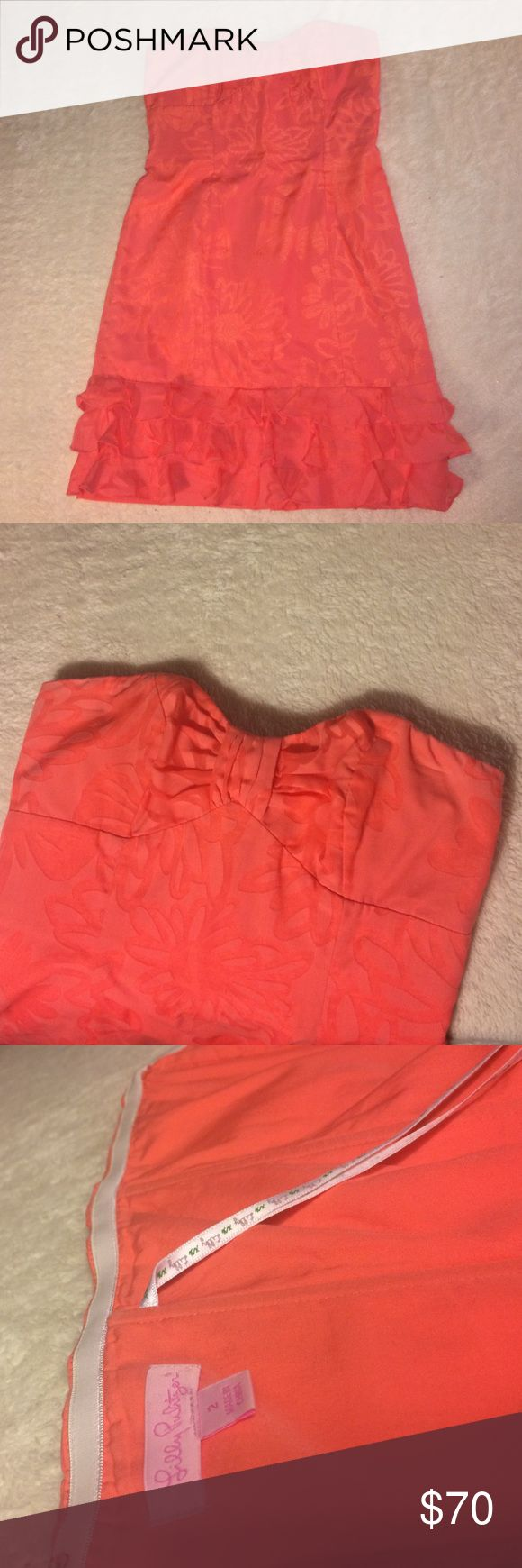 Lilly Pulitzer Coral Sundress A perfect spring occasion dress - worn twice. In perfect condition. Lilly Pulitzer Dresses Strapless