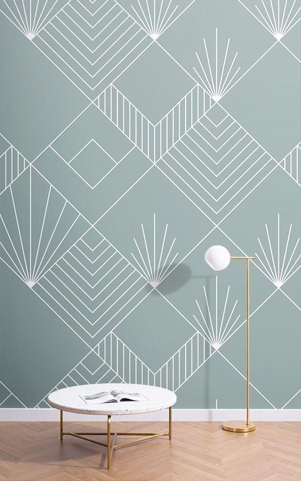 Blue Lines Squares Art Deco Wallpaper Mural Muralswallpaper In 2021 Art Deco Wallpaper Bedroom Wall Designs Wall Design